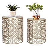 Joveco Side End Coffee Table Set of 2 Decorative Nesting Round Gold Nightstands (Gold)
