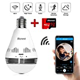 JBonest 360°WiFi Bulb Camera, 1080P Panoramic IP Security Camera with 32GB SD Card, Night Vision, Two-Way Audio and Motion Detection for Home Baby Pet