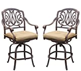 Darlee Elisabeth Cast Aluminum Counter Height Swivel Bar Stool with Seat Cushion, Set of 2, Antique Bronze Finish