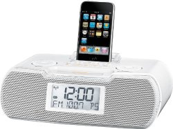 Sangean RCR-10 FM-RDS (RBDS) / AM / Aux-in Digital Tuning Atomic Clock Radio Compatible with 30 Pin iPod or iPhone (White) WITH FREE BLUETOOTH MUSIC RECEIVER