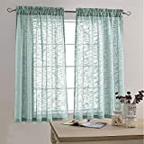 Sheer Curtains Open Weave Linen Texture Curtains for Living Room 63 Inches Long Rod Pocket Voile Window Curtains Two Panels Blue Haze