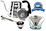 Pour Over Coffee Kettle Set with Thermometer 1.2L - Gooseneck Hand Grip - Premium Stainless Steel