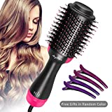 One Step Hair Dryer & Volumizer Ceramic Electric Blow Dryer, Hot Air Brush, 3-in-1 Negative Ion Hair Straightener Curler Brush Styling Styler Brush with 4 Duckbill clips (Rose)