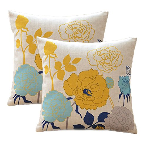 Sykting Blue And Yellow Pillow Covers Farmhouse Cotton Linen Outdoor Spring Pillow Covers 18x18 Inch Decorative For Goldilocks Effect