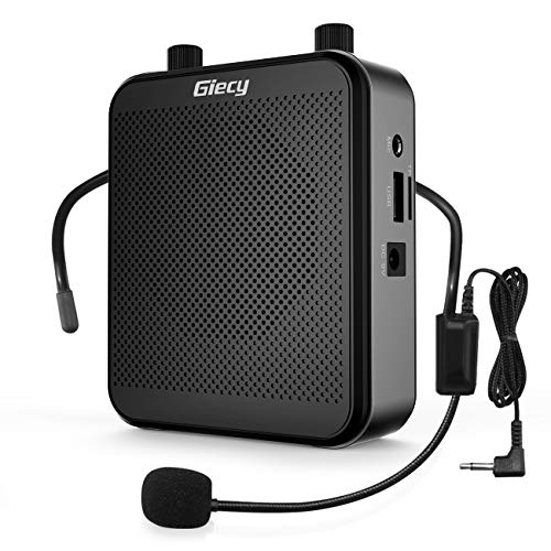 Giecy Voice Amplifier with Wired Microphone Headset for Teachers, Bluetooth Speaker 30W 2800mAh Portable Rechargeable PA System Speaker for Multiple Locations Such as Classroom, Meetings and Outdoors