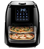 Chefman 6.3 Quart Digital Air Fryer+ Rotisserie, Dehydrator, Convection Oven, 8 Presets to Fry, Roast, Dehydrate & Bake, BPA-Free, Auto Shut-Off, Accessories & Cookbook Included, XL Family Size, Black