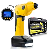 Powerful Cordless Tire Air Compressor: Portable Multi-function Inflator, Automatic Rechargeable Pressure Gauge Pump w/Digital LCD Preset, Power Bank, Flashlight, 150 PSI, 12V, 55 L/M by Planetico