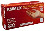 AMMEX Vinyl Disposable Gloves - Anti-Microbial, Powder-Free, Food Safe, Industrial, 3mil,Clear , Large (Box of 200)