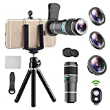 iPhone Telephoto Lens, 4 in 1 Cell Phone Camera Lens,12x Telephoto Lens+ 0.65x Wide Angle Lens + Macro Lens + Fisheye Lens,Clip-On Lenses for iPhone x 8 7 6 Plus, Samsung Smartphone Bundle (Black)