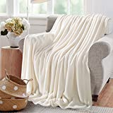Reafort Ultra Soft Flannel Fleece All Season Light Weight Living Room/Bedroom Warm Throw Blanket (Cream, Full/Queen 90'X92')