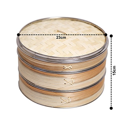 5184Y9JevKL - Livzing Bamboo Steamer Set With Lid- Brown