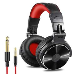 OneOdio Over Ear Headphone, Wired Bass Headsets with 50mm Driver, Foldable Lightweight Headphones with Shareport and Mic for Recording Monitoring Podcast Guitar PC TV – (PRO-10 Red)