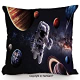FashSam Throw Pillow Covers Astronaut Between Planets Mars Neptune Jupiter Plasma Ethereal Sphere Picture for Couch Sofa Home Decor(24' Wx24 L)