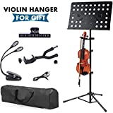 Klvied Folding Metal Music Stand, Portable Violin Music stands for Sheet Music, with Violin Hanger, Light, Clip Holder, USB Cable, Carring Bag for Instrument Books, Laptop, Black