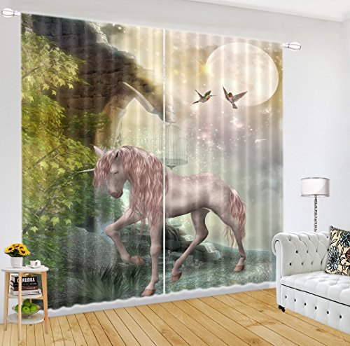 LB 3D Blackout Unicorn Window Curtains 3D Window Drapes Window Treatment Decorative Living Room Bedroom Curtain 2 Panels Set,color 1(60''W By 65.5''L)