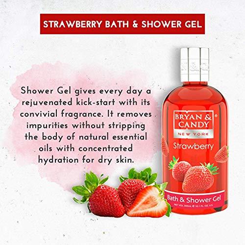 5187LZbLhjL Bryan & Candy New York Strawberry Bath Tub Kit for Complete Home Spa Experience (Shower Gel, Hand & Body Lotion, Sugar Scrub, Body Polish)
