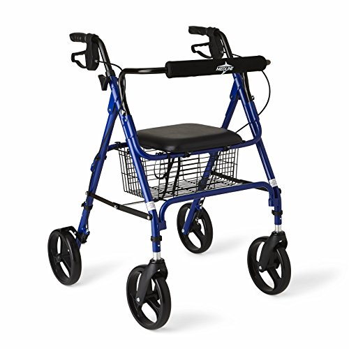 Medline Aluminum Folding Rollator Walker with 8' Wheels and Basket, Blue