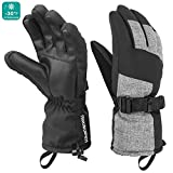 Mysuntown Winter Gloves for Men and Women Waterproof Snow Ski Gloves Cold Weather Outdoor Snowboarding Warm Glove Black (Large)