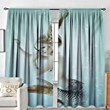 NUOMANAN Curtain Panels,Set of 2 Mermaid,Floating Mermaid with Water Bubbles Underwater Mythology Artwork Print,Seafoam Beige Brown,Modern Farmhouse Country Curtains 84'x100'