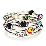 Lateefah 7 Chakra Beaded Bangle Wrap Bracelet - Fashion Bohemian Jewelry Multilayer Charm Bracelet with Thick Silver Metal Beads, Gift for Women Girls for Birthday Mother's Day