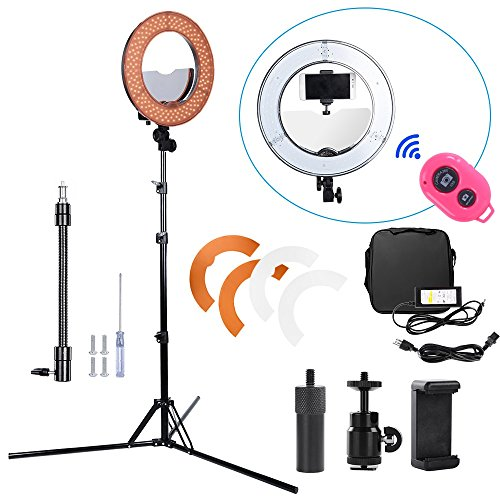 Hakutatz Dimmable 14 inches LED Ring Light 45W Camera Photo Video Fluorescent 5500K Flash Kit with Bag,Filter Set,Swivel Ball Head,Cellphone Clip Holder,iPAD Clip Holder,Mirror