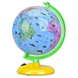 Illuminated World Globe for Kids, 8' Desktop Globe LED Night Light with Stand, Colorful, Easy-Read, Battery Operation, Globe Map Learning Tool Educational Gift for Student