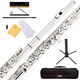 Mendini Closed Hole C Flute with Stand, 1 Year Warranty, Case, Cleaning Rod, Cloth, Joint Grease, and Gloves (Nickel Plated)