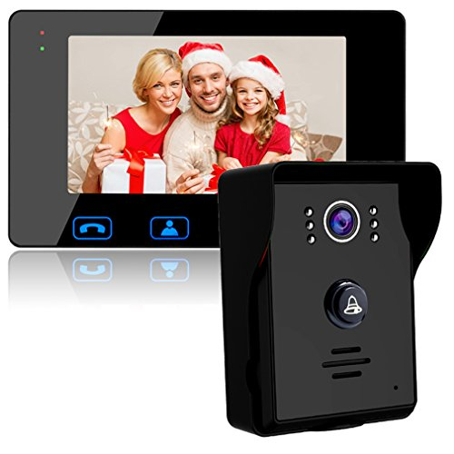 Video Door Phone Doorbell Wires Video Intercom Monitor 7' Wired Door Bell Home Security System with Night Vision and Push Button HD Camera