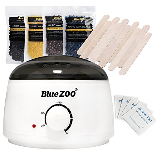 Bluezoo Waxing Kit Electric Wax Warmer with Hard Wax Beans Alcohol Prep Pads and Wax Applicator Sticks