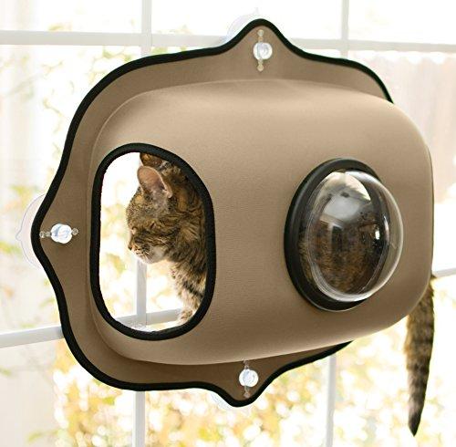 "K&H Pet Products EZ Mount Window Bubble Pod Tan 27"" x 20"" Kitty Sill"