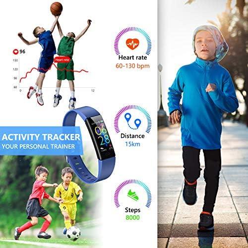 K-berho Slim Fitness Tracker for Kids Women Men,Heart Rate Monitor,IP68 Waterproof Activity Tracker for Boys&Girls,Blood Pressure,11 Sport Modes Health Smart Watch with Pedometer 4