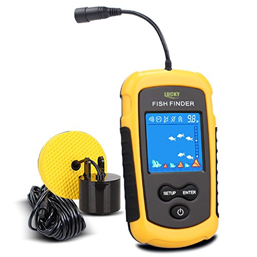 Lucky Portable Fishing Sonar, Wired Fish Finder Fishfinder Alarm Sensor Transducer with Colored LCD Dispaly
