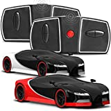 FAO Schwarz 2 Pack RC Remote Control Sports Italia Car Miniature 1:50 Scale, Two Mini Cars and Two Remotes for Two-Player Side-by-Side Racing, Built in LED Lights, Red/Black/Silver, 2.4 GHz