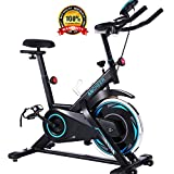 ANCHEER Indoor Cycling Bike Stationary, 40 LB Flywheel Exercise Bike with Comfortable Seat Cushion, Workout Bikes with Adjustable Resistance and LCD Monitor for Home Exercise