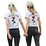 Gyouandme Women T-Shirt Short Tank Tops Best Friend Letters Rose Printed T Shirts Causal Blouses Tops (L, Red)