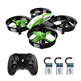 Holy Stone Kid Toys Mini RC Drone for Beginners Adults, Indoor Outdoor Quadcopter Plane for Boys Girls with Auto Hover, 3D Flip, 3 Batteries & Headless Mode, Great Toddler Gift, Green