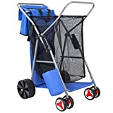 Best Choice Products Deluxe Folding Utility Beach Cart w/ Removable Utility Bag, All-Terrain Rear Wheels - Blue/Gray