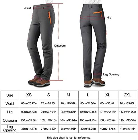 KUTOOK Women's Thermal Softshell Hiking Pants Windproof Polar Fleece Lined Cargo Pants for Winter Outdoor Sports 6
