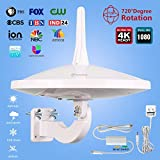 Dual Omni-Directional Amplified HD Digital TV Antenna, 65 Miles Super Strong Signal Range with Powerful HDTV Amplifier Signal Booster Support 4K 1080p & & All Older TV's for Outdoor,33ft Coaxial Cable