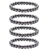 Byson 4 Pcs/Set Black Hematite 8mm Ball Bead Magnetic Therapy Bracelet Magnet Stone Bracelet Relieve Arthritis Headache Stress Relieving Magnet Bracelet Jewelry Anxiety Relief for Carpel Tunne