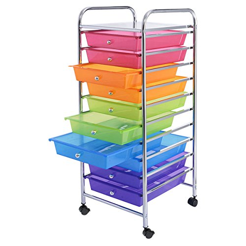 New 10 Drawer Rolling Storage Cart Scrapbook Paper Office School Organizer Rainbow