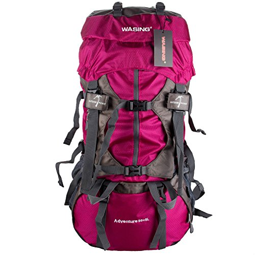 WASING 55L Internal Frame Backpack Hiking Backpacking Packs for Outdoor Hiking Travel Climbing Camping Mountaineering with Rain Cover WS-55Lpack-red