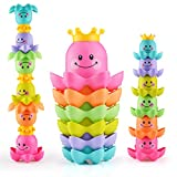 Viwenwen Bubble Bath Tub Floating Toys, 6 Pcs Non-Toxic Fun Octopus Stacking Cups Toddlers for Baby Kids Gift Early Education BPA-Free