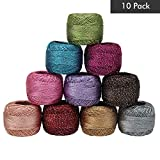 10 x Sparkly Colorful Glitter Thread Set by Kurtzy - 92.95 Yards Assorted Color Crochet Thread - Crochet Yarn Skeins Balls - 929.50 Yards in Total - Ideal for Beginners or Crochet Enthusiasts