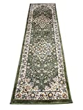 Traditional Persian 330,000 Point Runner Area Rug Green Design 603 (2 Feet X 7 Feet 2 Inch)