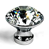 WINGONEER 10PCS 25mm Diamond Shape Crystal Glass Cabinet Knob Cupboard Drawer Pull Handle/Great for Cupboard, Kitchen and Bathroom Cabinets, Shutters, etc