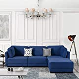Navy Blue Modular Sectional Sofa Couch Convertible Sofa Sectional Reversible Chaise Ottoman 3 Piece (Custom Couch Feature) Modern L-Shaped Sectional Sofa from 2Pc Loveseat to Chaise Ottoman Sofa