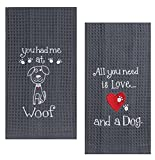 Kay Dee Dog Lover Embroidered Waffle Towel Set - One Each You Had Me at Woof & Dog Love