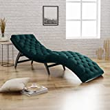 Product review for Grasby Tufted Teal Velvet Chaise Lounge