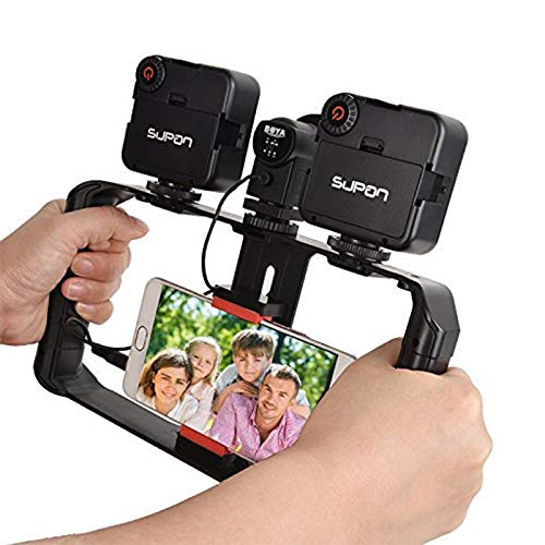SUPON U Rig Pro Smartphone Video Rig,Phone Movies Mount Handle Grip Stabilizer,Filmmaking Recording Rig Case for Video Maker Filmmaker Videographer Compatible for iPhone,Samsung,Huawei,Other Phones